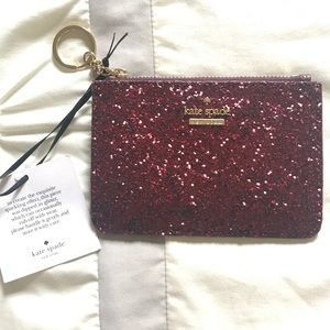 Kate Spade red sparkle keychain wallet
